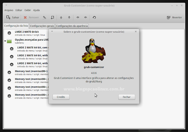 GRUB Customizer executando no LMDE 2