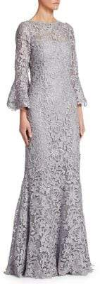 Teri Jon by Rickie Freeman Metallic Bell-Sleeve Lace Gown