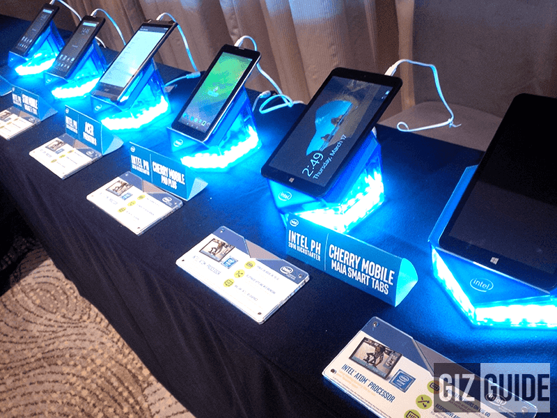 An array of Intel powered tablets