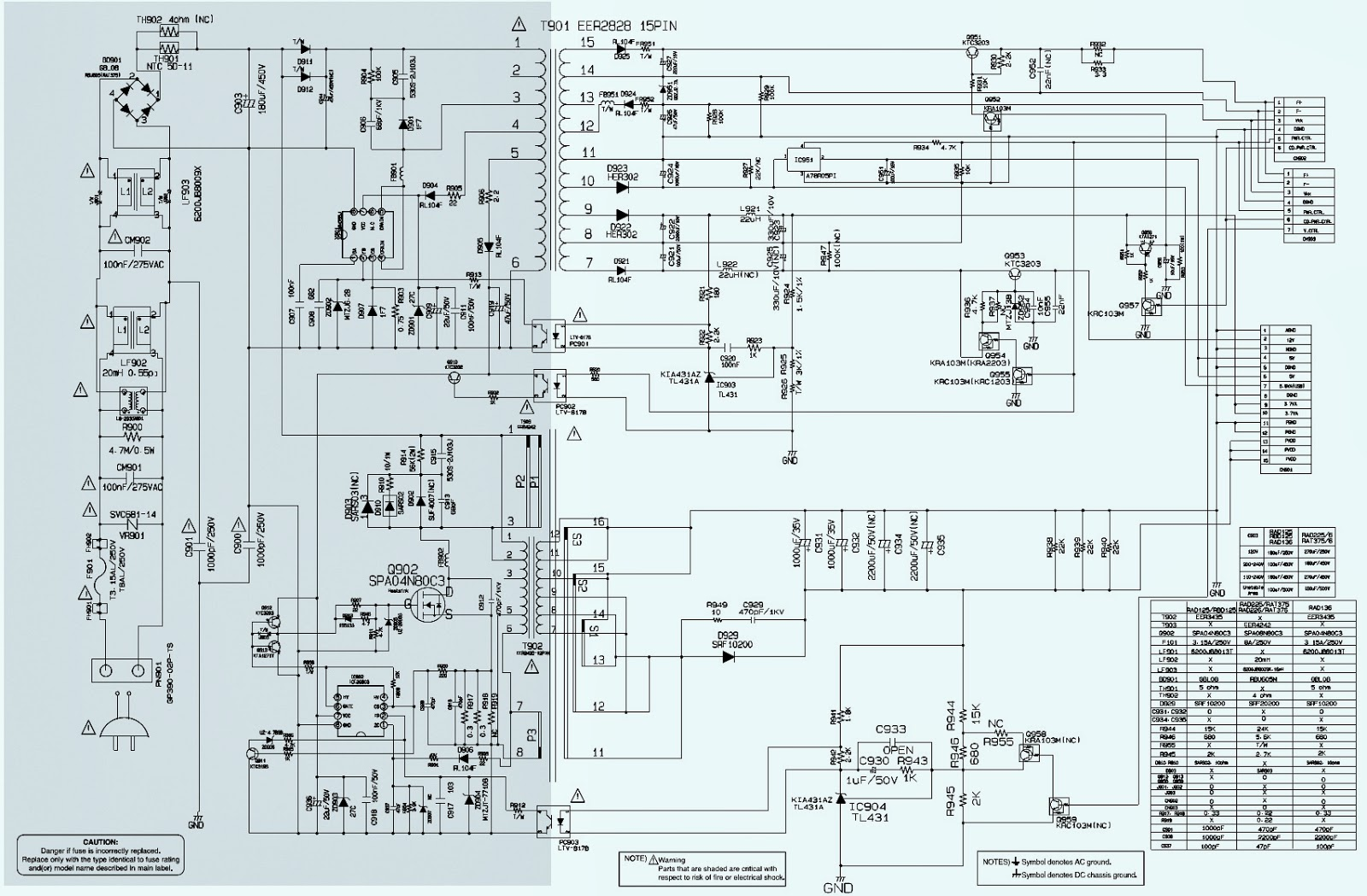 Electro help LG RAT376 SMPS Power Supply SCHEMATIC