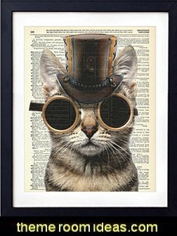 Steampunk Cat Upcycled Vintage Dictionary Art Print