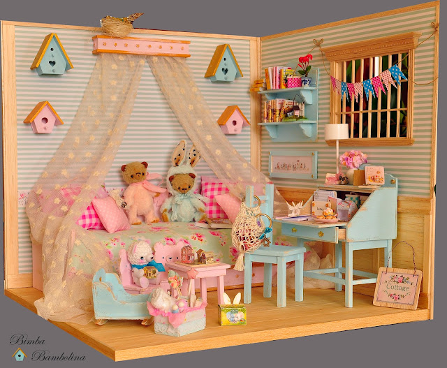 "Barbie Bedroom In A Box: Bimba Bambolina: OOAK Diorama ""ROMANTIC ROOM"" Scale Dolls"