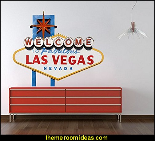 Las Vegas Sticker  Casino Theme Decorations - Las Vegas Casino Themed decorating ideas - casino themed bedroom decorating ideas - Casino Wall Decorations -   Las Vegas Themed Bedroom Decor -  Casino Party Supplies