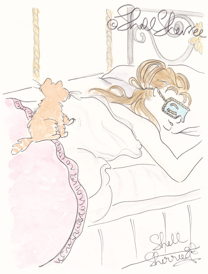 Fashion and Fluffballs illustration: Kitty Cat Alarm Clock and Sleeping Beauty © Shell Sherree