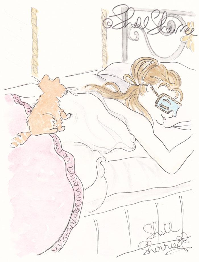 Fashion and Fluffballs illustration: Kitty Cat Alarm Clock and Sleeping Beauty © Shell Sherree