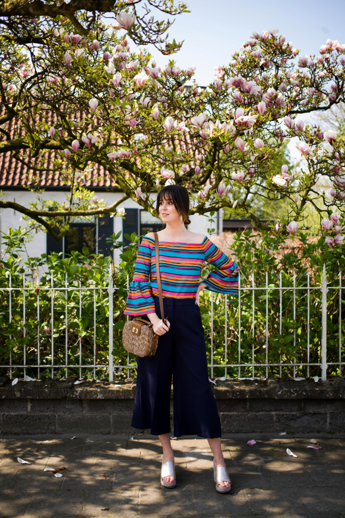 Outfit: rainbow striped off shoulder top, culottes and platform mules