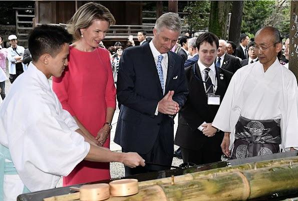 Belgian Royals visit Nezu Shrine in Tokyo, Japan. Queen Mathilde and King Philippe