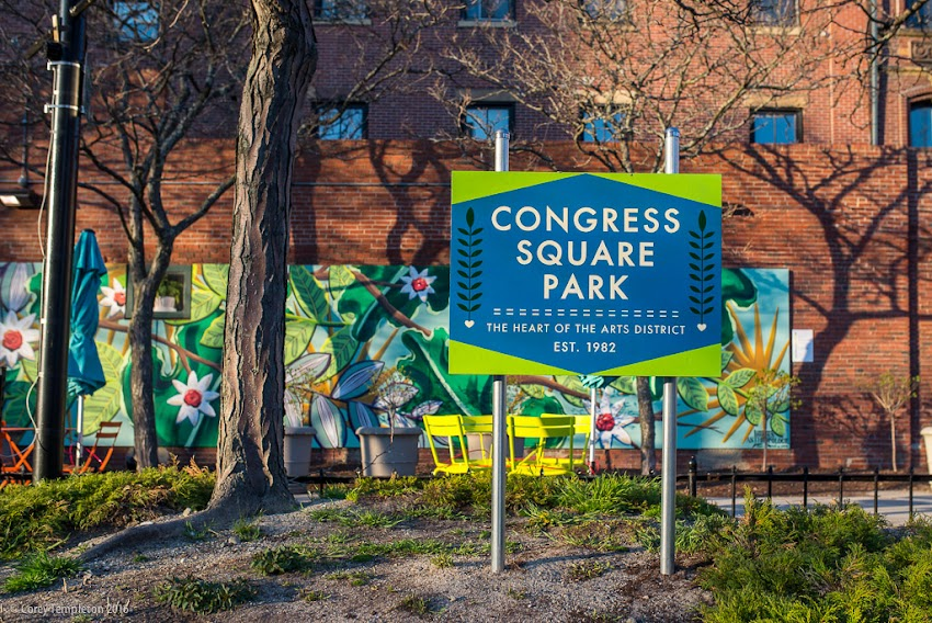 Portland, Maine USA new sign at Congress Square Park. May 2016 photo by Corey Templeton.