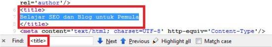 mencari title tag pada kode sumber