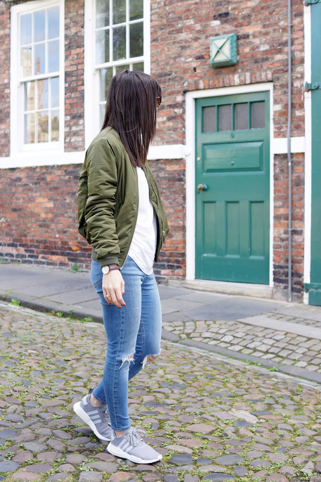 Casual Weekend Sunday Outfit Personal Style Khaki Bomber Jacket Adidas NMDs Trainers