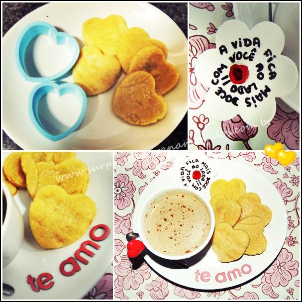 lanche da tarde com biscoitos em forma de coração