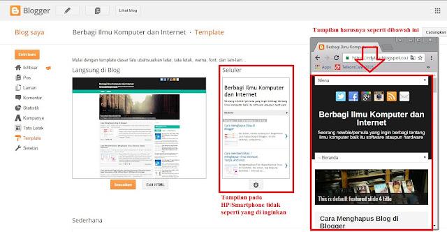 Cara Menampilkan Mobile Template / Template Seluler di Blogger