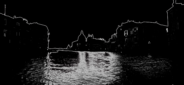 Venice city silhouette in black and white