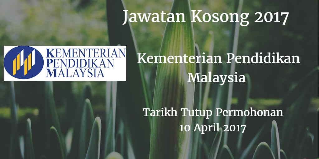 Jawatan Kosong KPM 10 April 2017