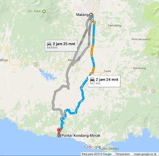 rute ke Pantai Kondang Merak