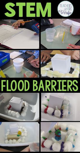 In this STEM Challenge, students build a barrier that will slow or stop the flow of water. First, they test various absorbent items.  After experimenting, test results help choose an absorbent item and then they design the flood-proof barrier. It is tested when water is poured into the structure's container. Can students effectively use the materials to build a fence system and pack it with absorbent items? Will the house flood? Great problem solving occurs with this STEM project!