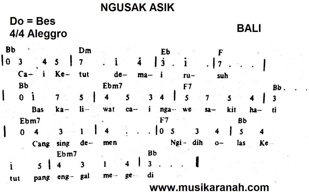 Not Bali Ngusak Asik Lirik Lagu