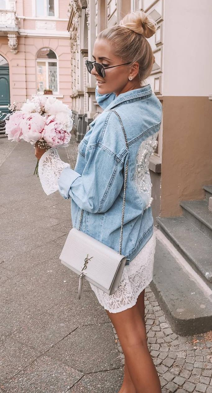how to wear en embroidered denim jacket : crossbody bag and white dress