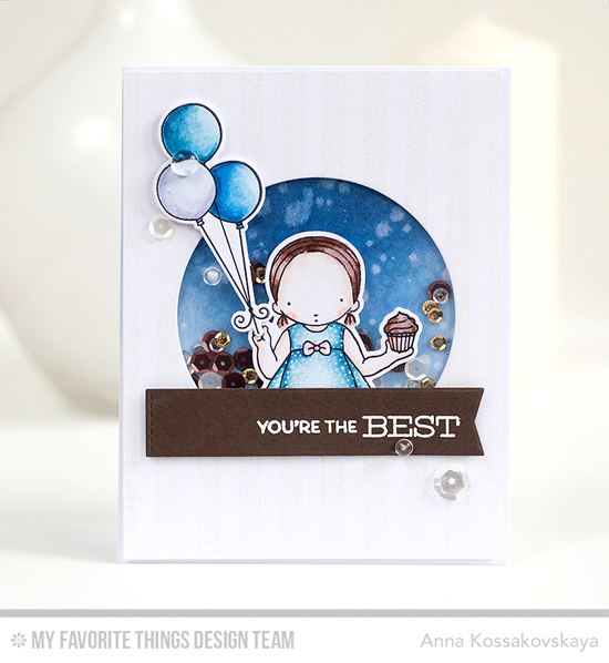 Handmade card from Anna Kossakovskaya featuring Gumball Greetings stamp set, Birdie Brown Beary Special Birthday and Pure Innocence Cupcake Day stamp sets and Die-namics, Distressed Stripes Background stamp, Stitched Arch STAX and Blueprints 27 Die-namics #mftstamps