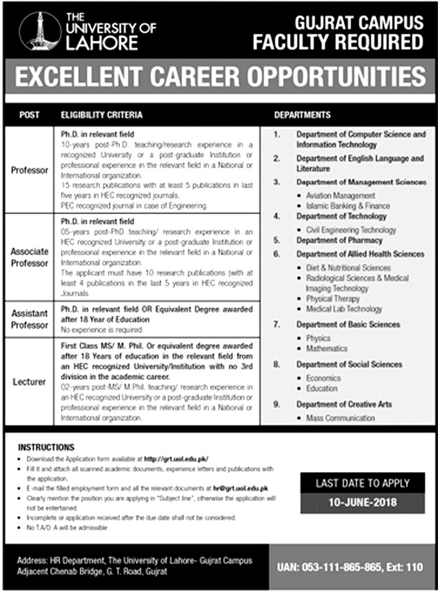 New Jobs / Vacancies in University of Lahore UOL Gujrat Campus