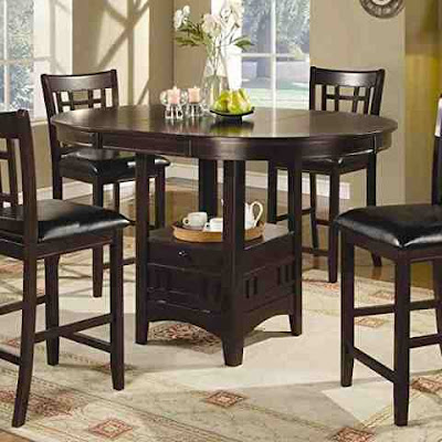Coaster Counter Height dining Set Extension Leaf Dark Cappuccino Finish