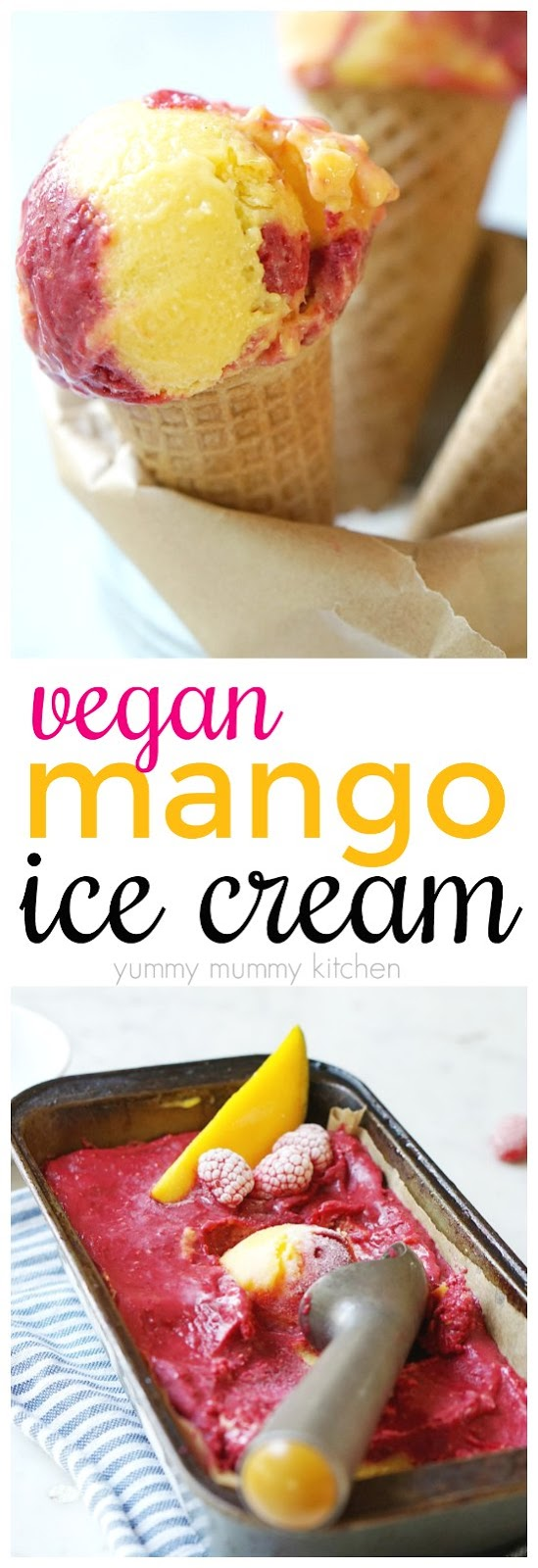 Easy 2-ingredient mango and raspberry swirled vegan ice cream recipe. This nice cream is easy to make in the food processor or Vitamix.