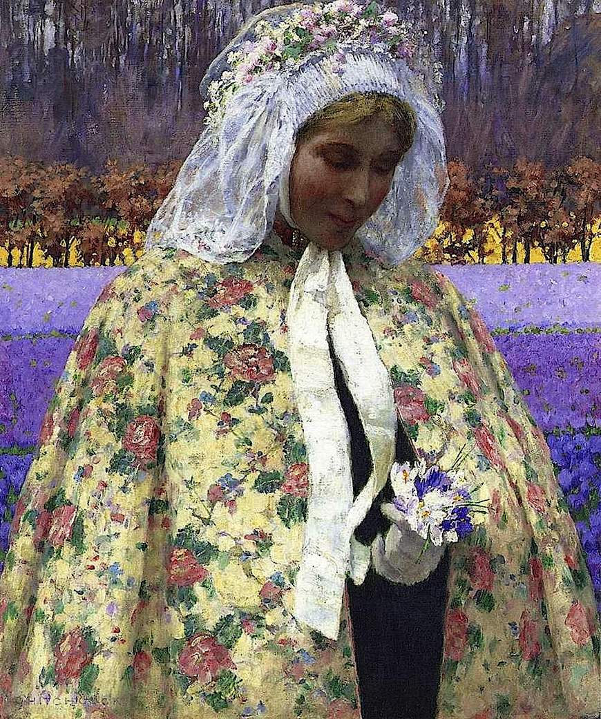 a George Hitchcock painting of a woman with flowers