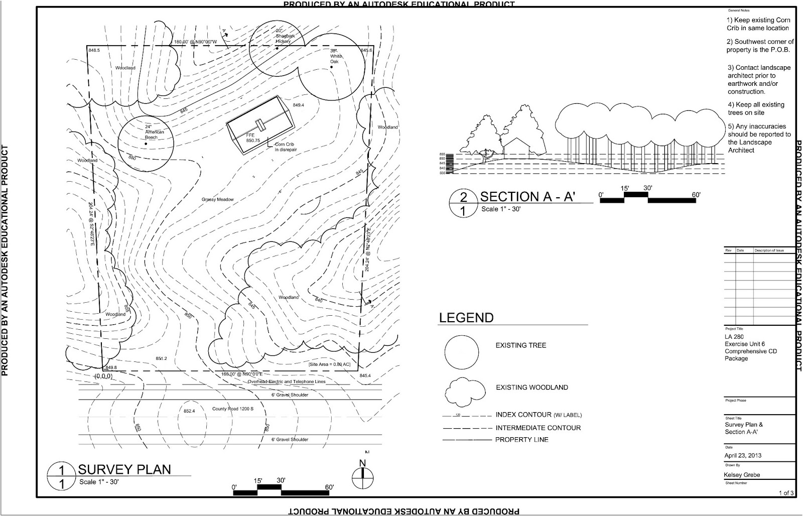 Kelsey Grebe Kelsey Grebe Survey Section and Site Plan Layout – Site Plan Survey