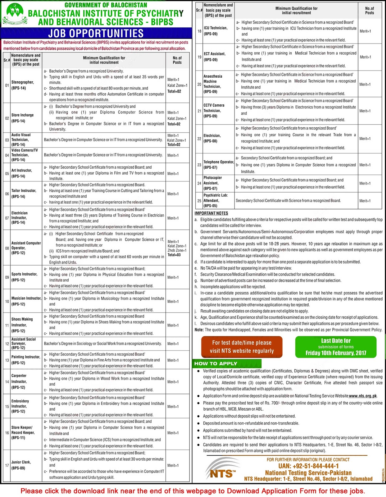 Balochistan institute of psychiatry and behavioral sciences jobs embroidery instructor bps 11 store keeper record keeper bps 09 junior clerk icu technician ect assistant anesthesia machine technician falaconquin