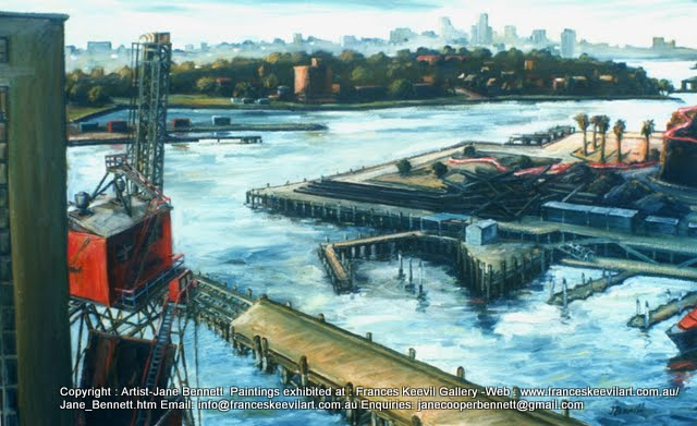 plein air oil painting of CSR Refinery before the construction of Jacksons Landing by industrial heritage artist Jane Bennett