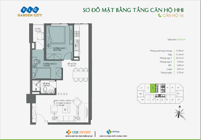 Thiết kế căn hộ 16, 63m, HH1 FLC Garden City