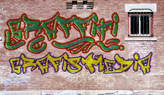 hasil membuat tulisan graffiti di photoshop