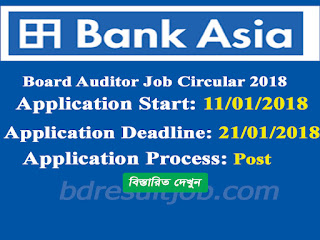 Bank Asia Limited Board Auditor Job Circular 2018