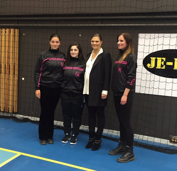 Crown Princess Victoria of Sweden visited a football education organization that has been established in 2013 in town of Tumba for girls aged between 12 and 16, which is called