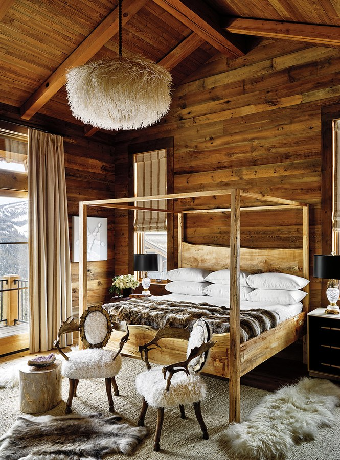 Ken Fulk rustic chic wood walls in a mountain ski house Sky High in Montana