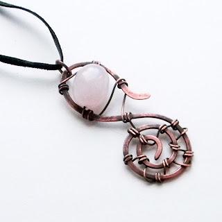 купить медный кулон с розовым кварцем металлический этнический украшение украина проволока Anabel