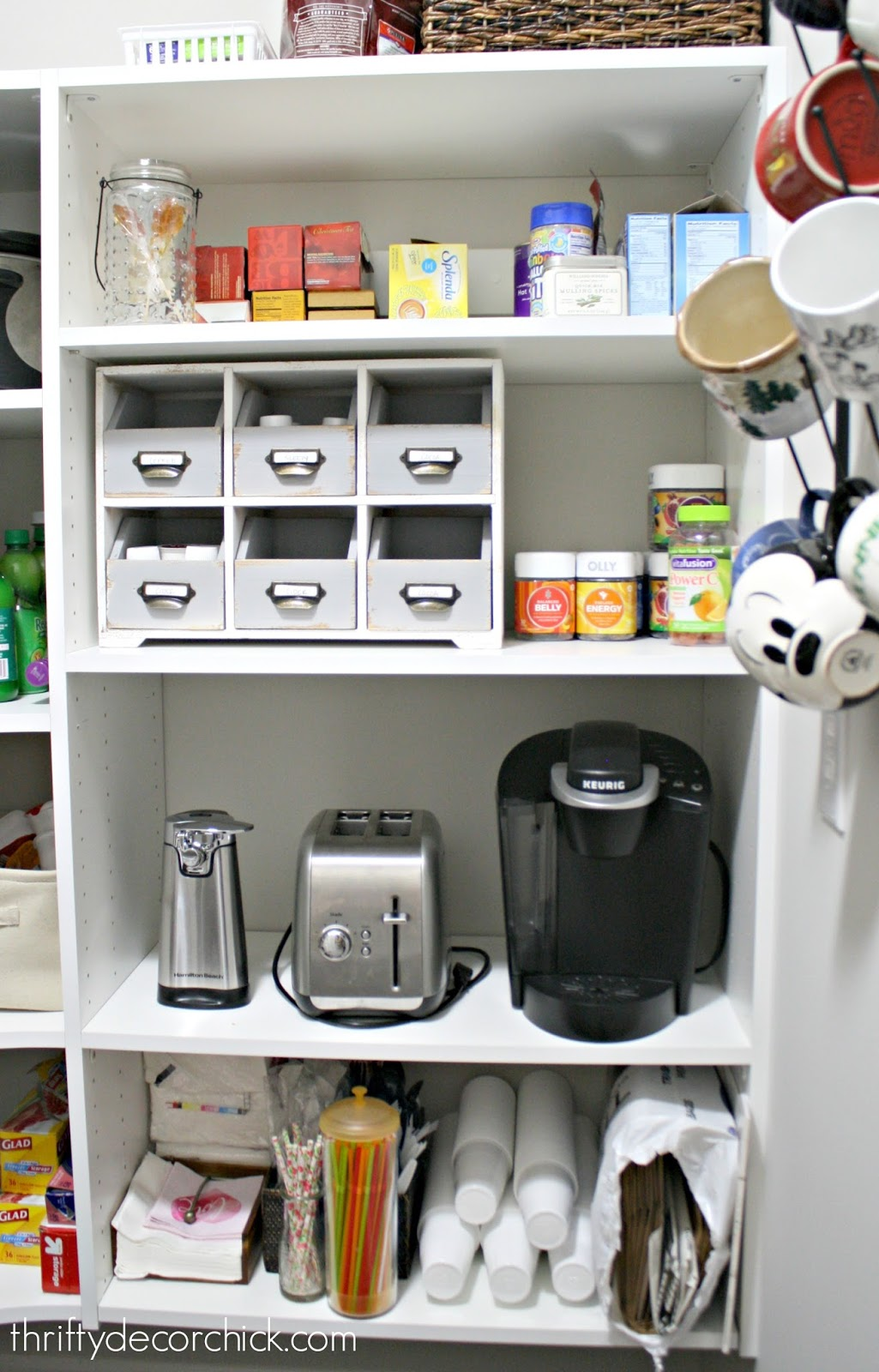 Storing appliances in pantry