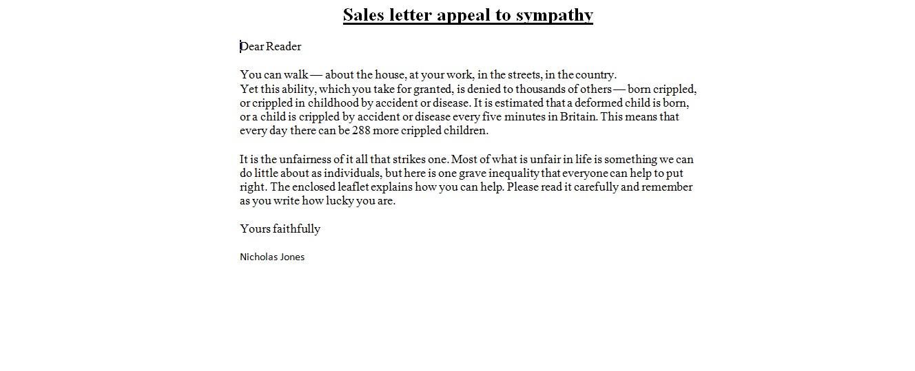 Business Letter Samples  Sales Letter appeal to sympathy - letter of appeal sample