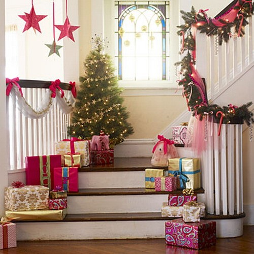 Mesmerizing Staircase Decoration Country Diy Christmas Decor Ideas Decorations Indoor