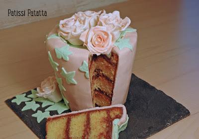 gâteau pot de fleurs, roses gumpaste, cake design, pâte à sucre, gumpaste, modeling flowers, flowers pot cake, patissi-patatta