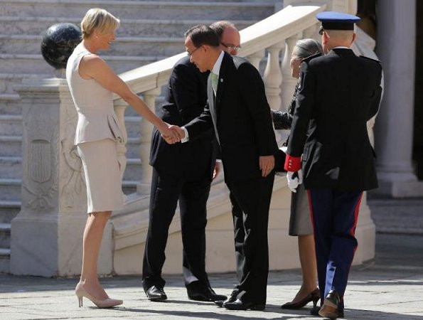 Prince Albert and Princess Charlene met with United Nations Secretary-General Ban Ki-Moon and his wife Ban Soon-taek