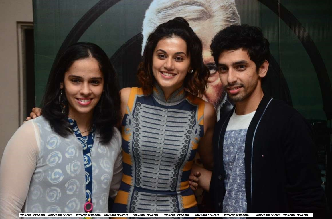 Saina Nehwal was among the celebrities at the special screening of Bollywood film Pink in Hyderabad
