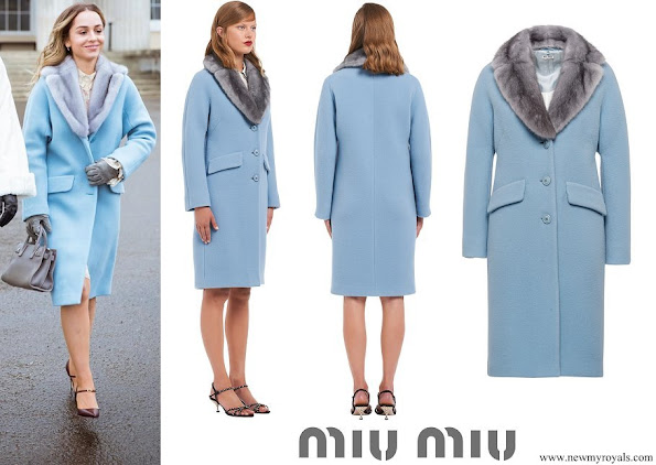 Princess Iman wore MIU MIU Wool and Angora Coat With Mink Trim