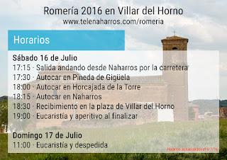 Horarios Romería 2016 Villar del Horno