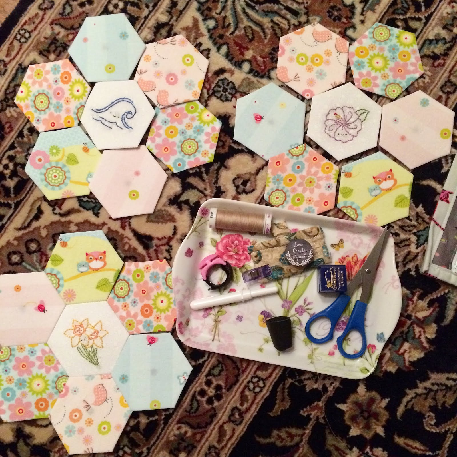 Three More English Paper Pieced Flowers