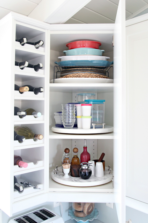 iheart organizing organized kitchen corner cabinet with a diy lazy susan. Black Bedroom Furniture Sets. Home Design Ideas