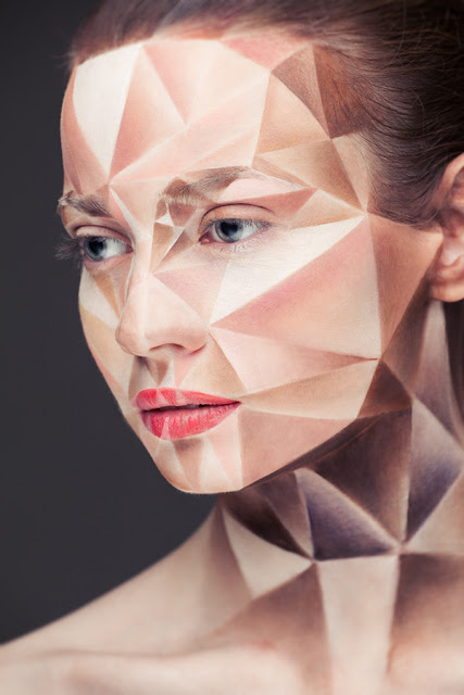 Idées maquillage halloween originaux géométrique