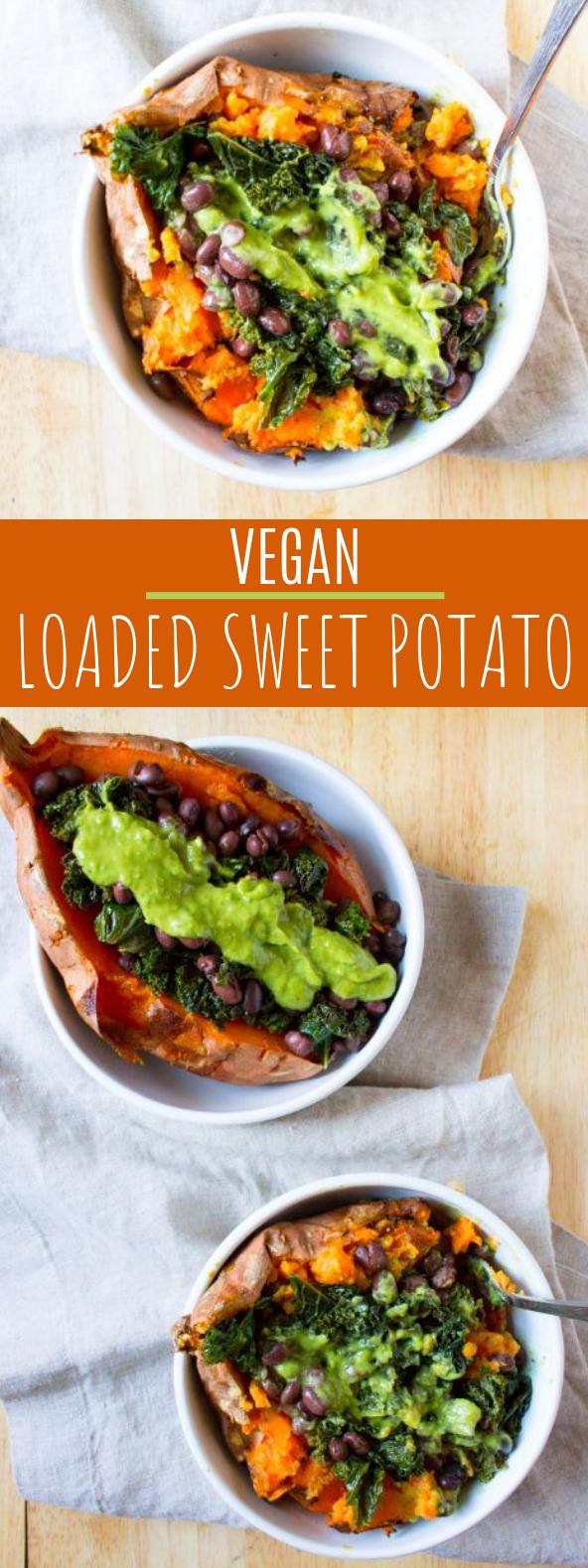 Vegan Loaded Sweet Potato #dinner #meatless