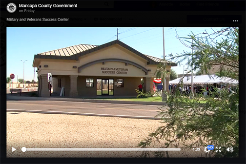 snapshot from Maricopa County video open, exterior shot of new center.