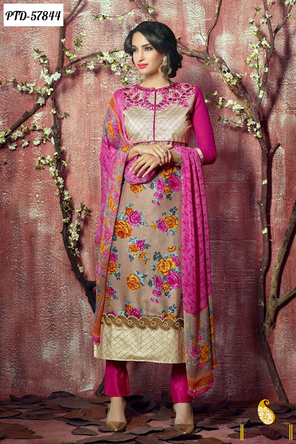 multicolor silk heavy embroidery salwar suit online shopping at cheap price